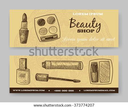 Website banner or header set. Beauty shop. Template for design. Vector illustration. Lipstick, eye shadow, nail polish, blush - stock vector