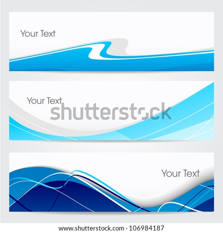 Website banner or header set with stylized blue wave pattern. EPS 10. - stock vector