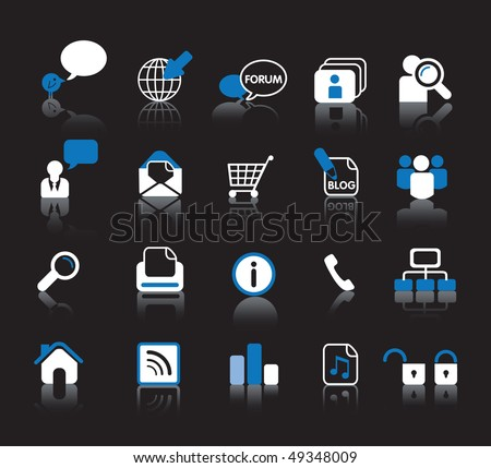 website blue and white icon set for internet design - stock vector