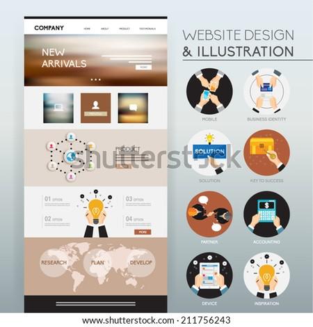 Website Design and Illustration Vector Design  - stock vector
