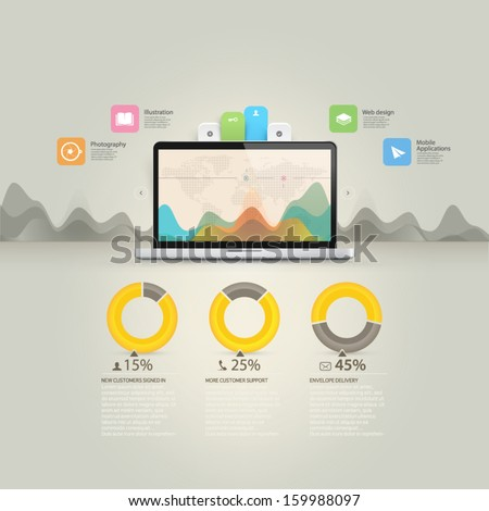 Website design Elements: infographics template with icons and notebook laptop. - stock vector