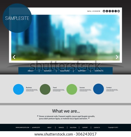 Website Design for Your Business with Blurred Image Background - stock vector