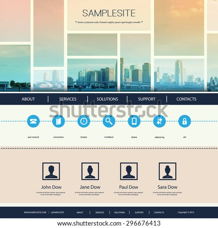 Website Design for Your Business with Miami Skyline - stock vector