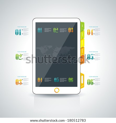 Website design template elements: Smart phone and icons set  - stock vector