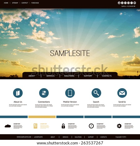 Website Design Template for Your Business with Sunset Photo Background - Clouds, Sun, Sun Rays - stock vector