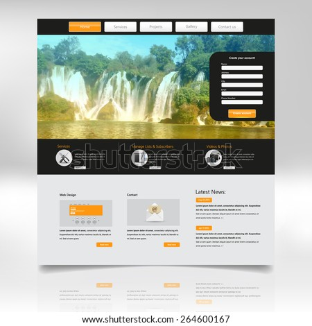 Website Design Template for Your Business with Waterfall Photo Background  - stock vector