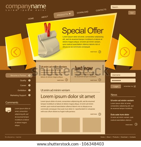 Website design template 960 Grid, vector. - stock vector