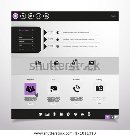 Website Design Template. Professional Minimal Theme, Vector illustration. - stock vector