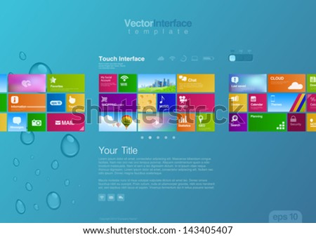 Website design template vector. Tablet pc interface. Big Touch pad buttons. Editable. - stock vector