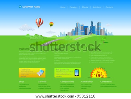 Website editable template: Business city on green grass horizon Uni themes: business concept, realty, innovations, services etc. - stock vector