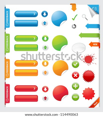 Website elements collection set. Banners, Buttons, Labels, Stickers. / Web Design Elements - stock vector