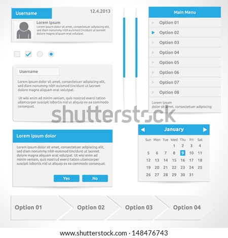 Website elements, options calendar dialog box steps input radio and slider | color white and blue | abstract vector design | web template - stock vector