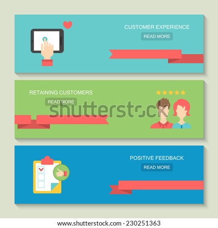 Website header design for customer service and client experience concept with flat icons - stock vector