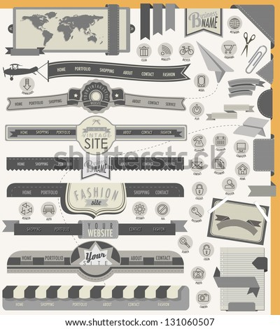 Website headers and navigation elements. 25 universal icons. Creative tool tips for retro vintage web design. - stock vector