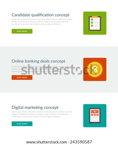 Website Headers or Promotion Banners Templates and Flat Icons Design. Candidate Qualification Checklist, Online Banking Deals Dollar Coin, Digital Marketing Tablet Computer. Vector Illustration.  - stock vector