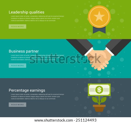 Website Headers or Promotion Banners Templates and Flat Icons Design. Leadership qualities gold medal awards, Business partner handshake, Percentage earnings money flower growth. Vector Illustration.  - stock vector