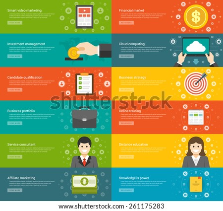 Website Headers or Promotion Banners Templates and Flat Icons Design. Smart video marketing tablet computer, Investment Money Management, Candidate qualification, job interview. Vector Illustration.  - stock vector