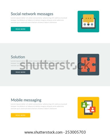 Website Headers or Promotion Banners Templates and Flat Icons Design. Social network message, Solution puzzle, Mobile messaging smart phone and speech bubbles. Vector Illustration.  - stock vector