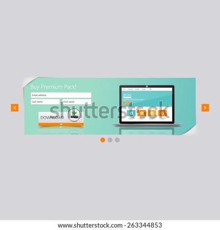 Website Interface, download design - stock vector