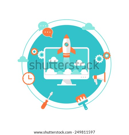 Website Launch, Content Development and Maintenance Illustration - stock vector
