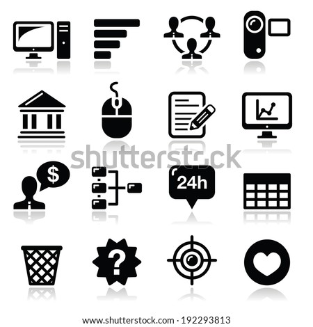 Website menu navigation black vector icons set - stock vector