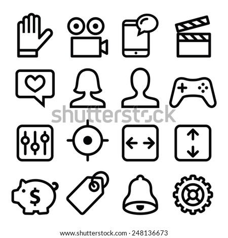Website menu navigation line icons set - stock vector