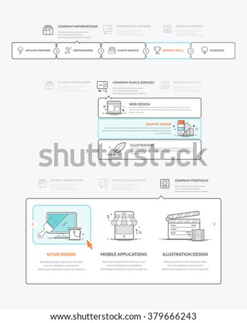 Website navigation elements: Set of colorful navigation elements for company, personal business website portfolio with concept icons - stock vector