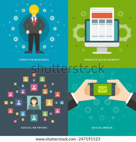 Website Promotion Banners Templates and Flat Icons Design. Creative business man, Development, Social network, Media marketing. Vector Illustrations set.  - stock vector