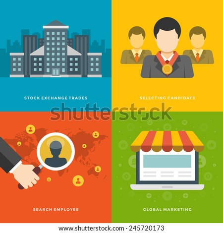 Website Promotion Banners Templates and Flat Icons Design. Stock exchange trades, Selecting candidate, Search employee, Global Marketing. Vector Illustrations set.  - stock vector