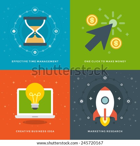 Website Promotion Banners Templates and Flat Icons Design. Time management, Click to make money, Creative Business Idea, Marketing research. Vector Illustrations set.  - stock vector