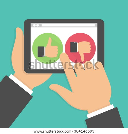 Website rating feedback and review concept. Hand holding and pointing to a tablet with like and dislike hand sign button on the screen. Vector illustration in flat style - stock vector