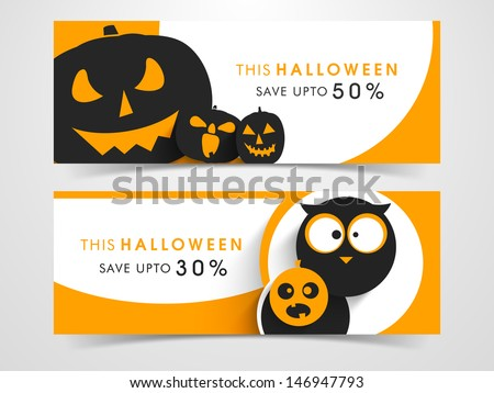 Website scary header or banner set with Halloween pumpkins and owl. - stock vector