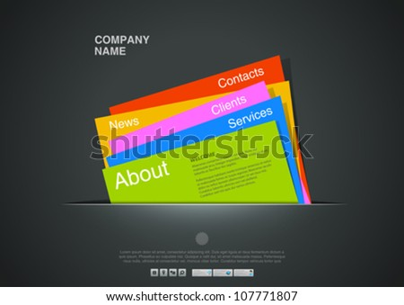 Website template. Creative design. Card interface. Paper concept. Copyspace. Vector. Editable. - stock vector