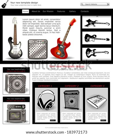 Website template design along with icons and images. Guitar music related. - stock vector