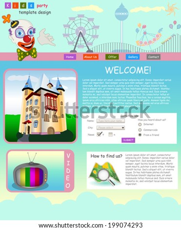 Website template design along with icons and images. Kids party  - stock vector