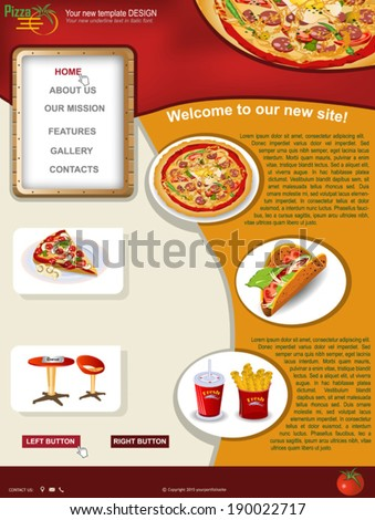 Website template design along with icons and images. Pizza restaurant related  - stock vector