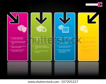 Website template design with arrow symbols on color labels - stock vector