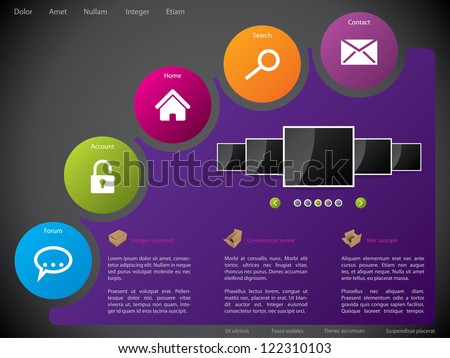 Website template design with colorful circle shaped stickers - stock vector