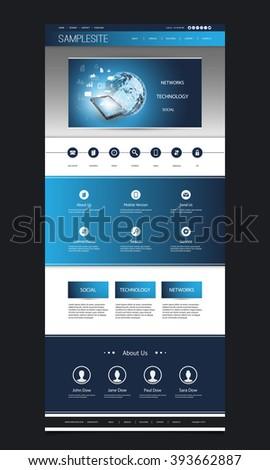 Website Template Design With Header Design - Network Concept Background - stock vector