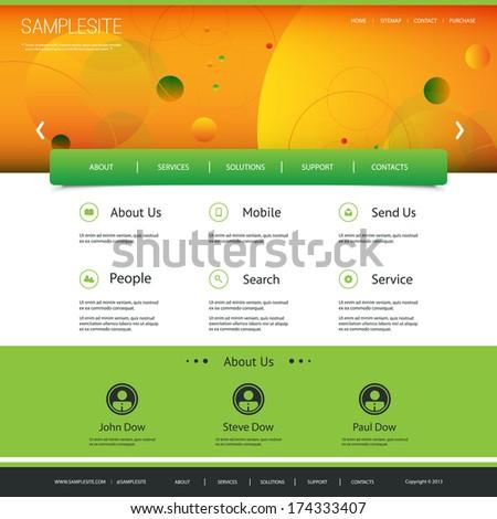 Website Template Design with Orange Header - stock vector