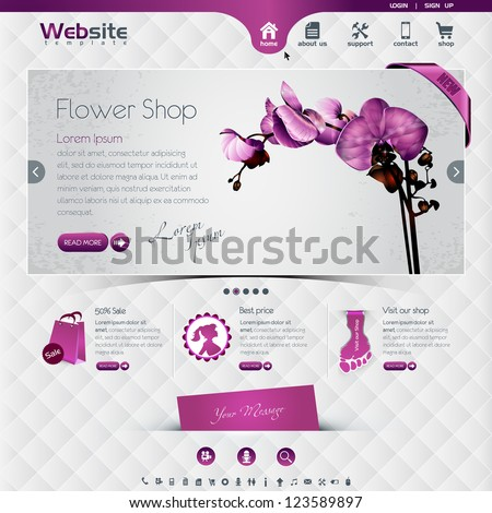 website template for flower shop and web shop, the worn, rubbed effects are on different layers, eps10, contains transparencies for a high realistic effect. - stock vector