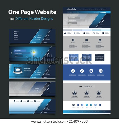 Website Template for Your Business with Six Different Header Design - stock vector