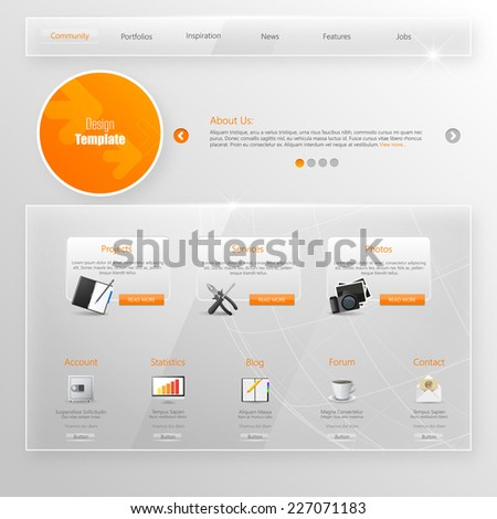 Website Template, Glass Transparent Minimalistic design with icons and buttons - stock vector