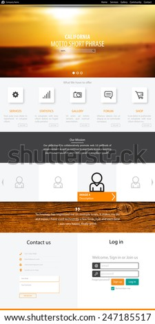 Website template, icons, headers, blurred backgrounds and other vector elements for your design. - stock vector