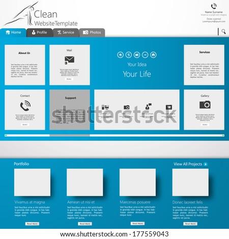 Website template in editable vector format  - stock vector