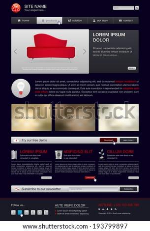 Website template in modern dark design - vector illustration - stock vector