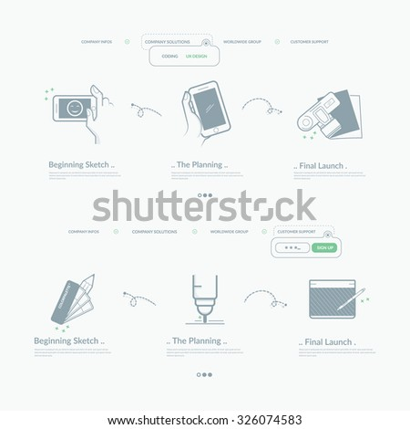 Website template navigation elements: Set of two company home pages design with concept icons and personal company logo. - stock vector
