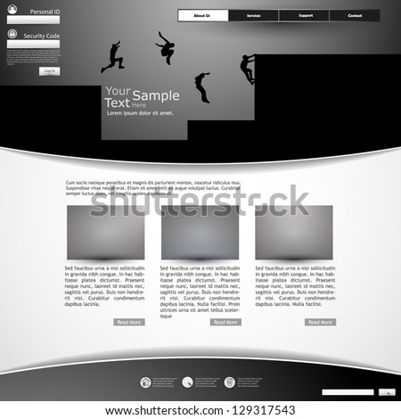 Website Template Parkour Theme - stock vector
