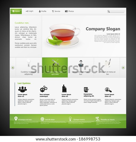 Website Template, Professional and Modern design, with photorealistic tea cup and mint.  - stock vector