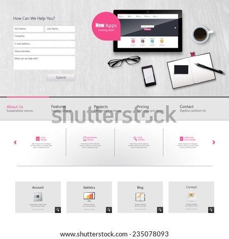 Website Template Vector Design with realistic still life illustration, tablet, coffee, notebook. - stock vector